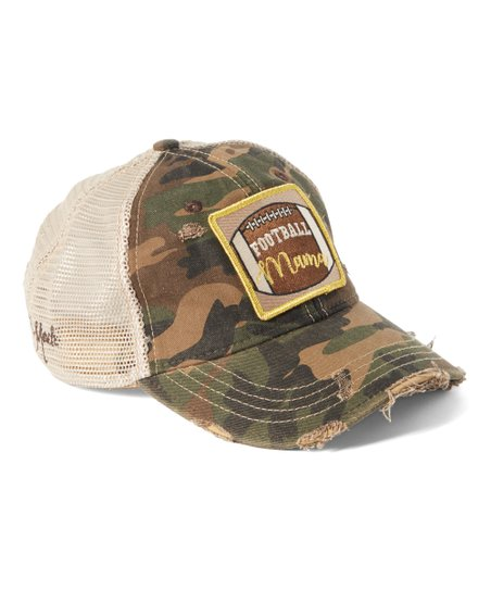 74f671e9576 Judith March Camouflage Distressed Football Mama Patch Baseball Cap ...