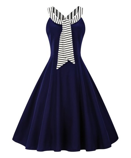 b13415db8a love this product Navy   White Stripe Tie-Accent A-Line Dress - Women