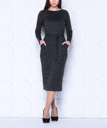 Laura Bettini Black Wool Blend Pocket Mid Calf Dress Women Plus