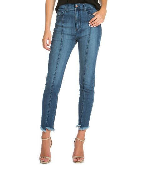 c15cf8ba884 love this product Medium Wash Distressed-Hem Denim High-Waist Skinny Jeans  - Women