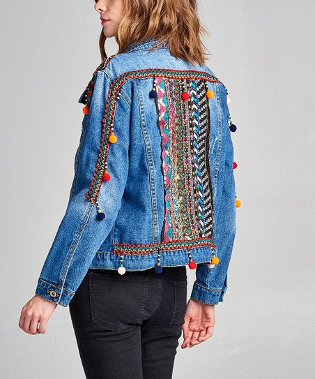 e680851b6ff1 love this product Medium Blue Embellished Jean Jacket - Women
