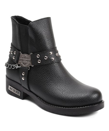 9c704b8a1772 love this product Black Studded-Strap   Chain Ankle Boot - Women