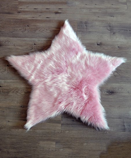 Light Pink Star Faux Fur Rug