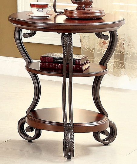 Brown Cherry Transitional Side Table