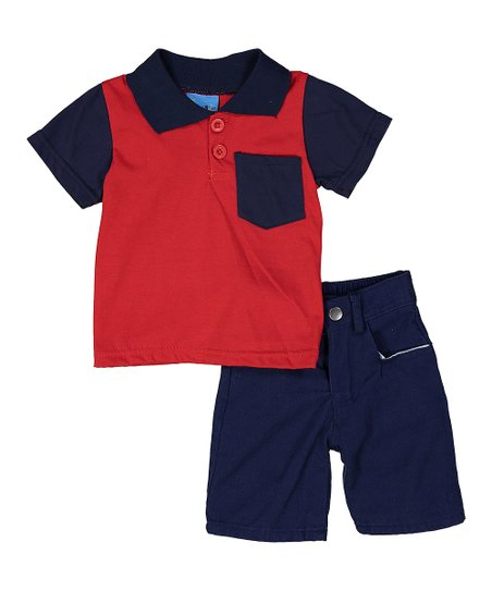 09a58415 Sweet & Soft Red Pocket-Front Polo & Navy Shorts - Infant | Zulily