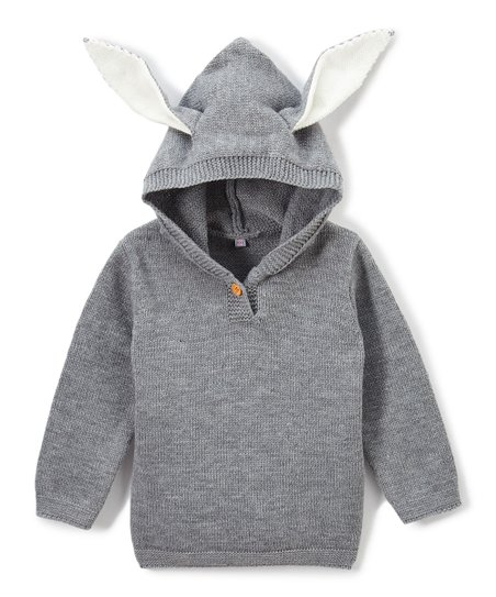 Wind Thistle Gray Bunny Ear Hooded Sweater Toddler Zulily