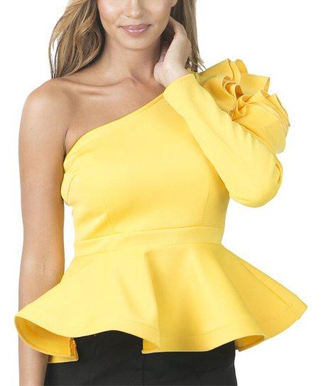 57312781e4c CQbyCQ Golden Yellow Ruffle-Rose Asymmetrical Peplum Top - Women ...