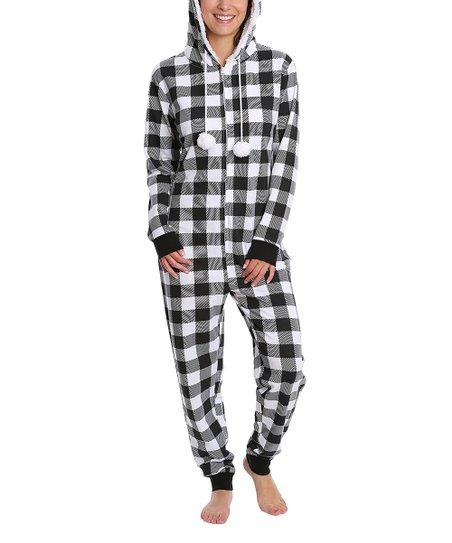 feb9637a69b7 Nomad Black   White Buffalo Check Hooded One-Piece Pajamas - Women ...