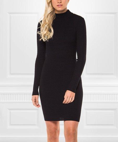 love this product Navy   Black Melange Ribbed Mock Neck Sweater Dress -  Women b3f344ef8
