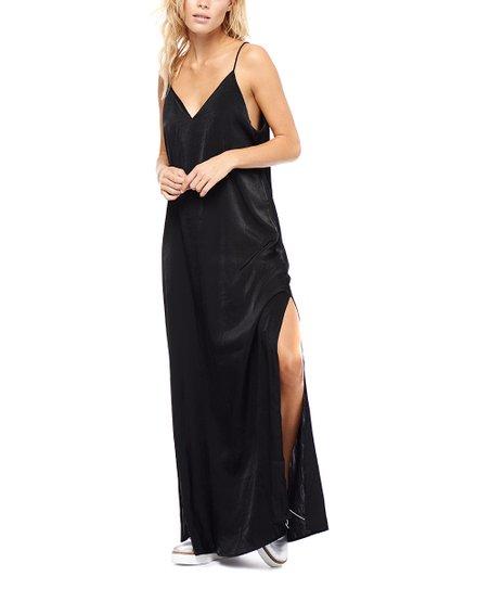 447315aa04 Devoted Black Satin Side-Slit Maxi Dress - Women