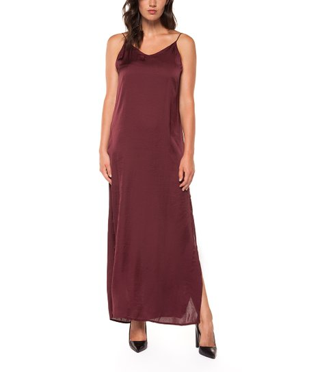 7089193660a6 love this product Wine Satin Side-Slit Maxi Dress - Women