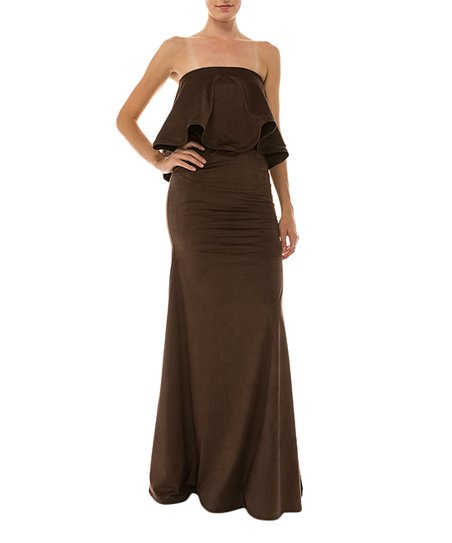 fe71a7b02d05 BY GISHI Chocolate Talia Strapless Maxi Dress