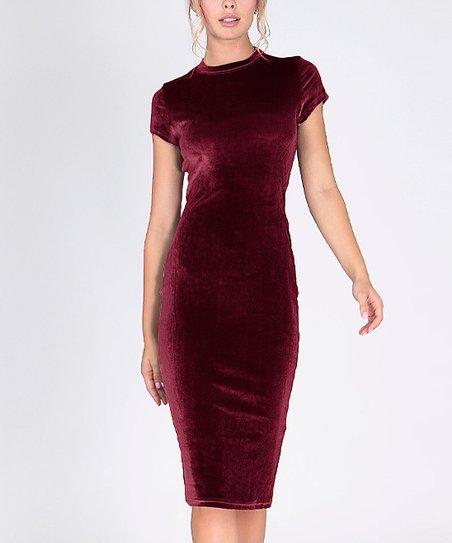 19e9ad04bbd8 Solo La Fe Burgundy Velvet Bodycon Dress - Women