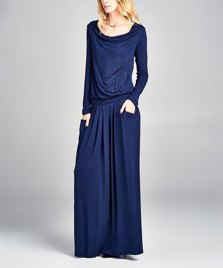 love this product Navy Long-Sleeve Pocket Maxi Dress - Women f311159bde