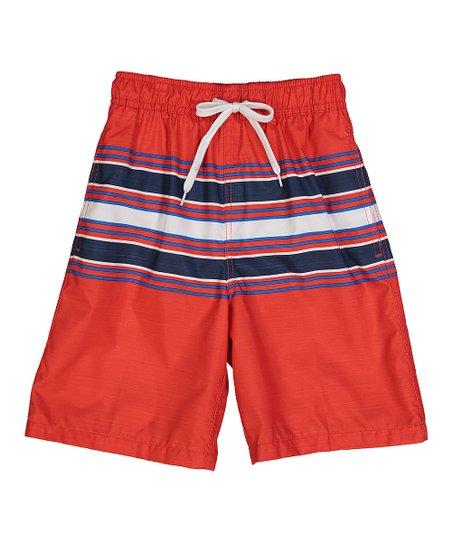 36518d0fc7 Kanu Surf Red Archer Stripe Swim Trunks - Toddler & Boys | Zulily
