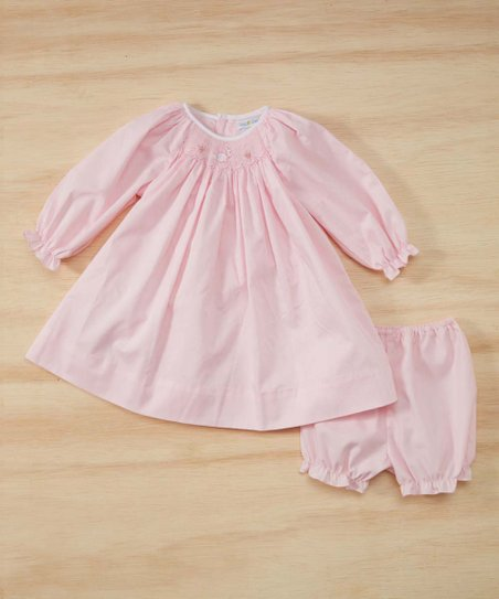 Petit Ami Pink Bunny Smocked Long Sleeve Dress Bloomers Infant