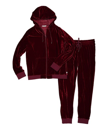 Steve Harvey Burgundy Velour Zip Up Hoodie Joggers Set Tall Best Price And Reviews Zulily