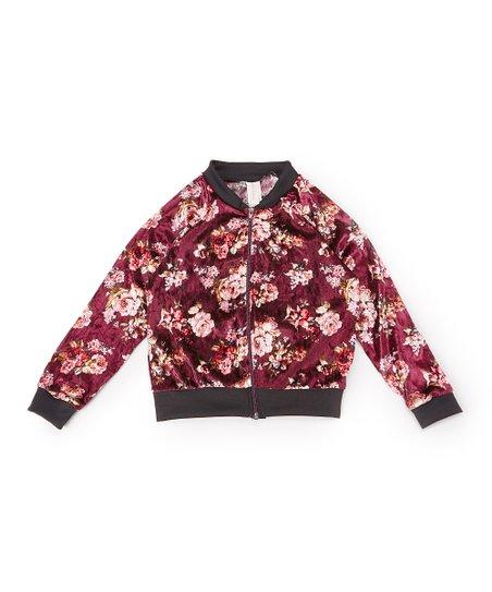 64958503f Maya Fashion Burgundy Floral Velvet Bomber Jacket - Girls