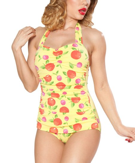 70bc69c3d18 love this product Yellow Delicious Classic Sheath One-Piece Swimsuit