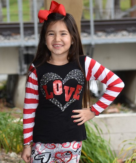 9866a6d057 love this product Black & Red Stripe-Sleeve 'Love' Tee - Toddler & Girls
