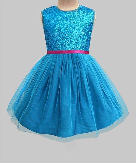 c0cf79772 A.T.U.N. Turquoise Glitter Tulle-Overlay Sleeveless Dress - Girls ...