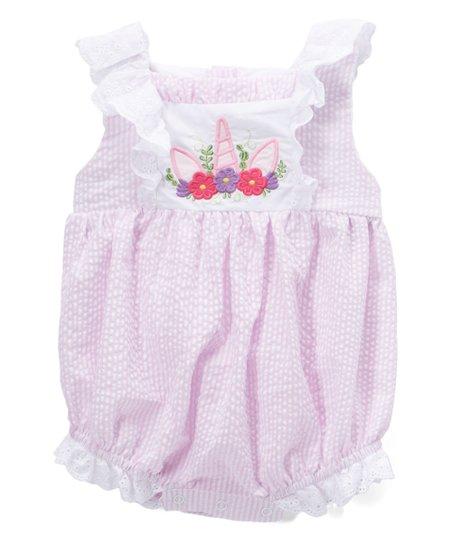 c715f7950c1d love this product Pink Seersucker Unicorn Romper - Toddler