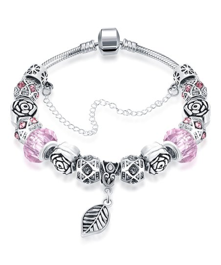 993ee65b95ad7 Golden NYC Pink Chain-Accent Leaf Charm Bracelet with Swarovski® Crystals