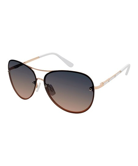 7e434fc1df love this product Rose Gold   White Aviator Sunglasses