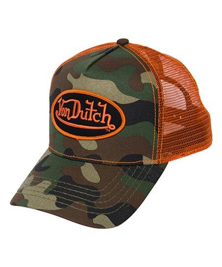 2e5520ea55a10 Von Dutch Army Camo   Orange Logo Patch Trucker Hat - Unisex