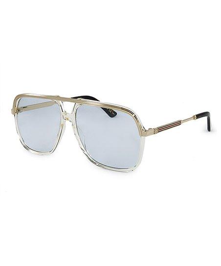 13921fc1885 Gucci Light Blue   Gold Aviator Sunglasses