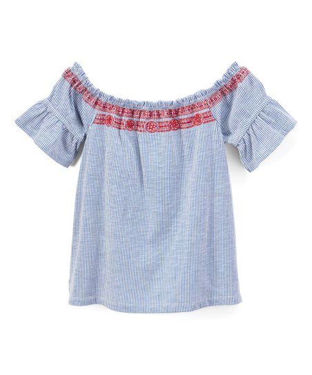 8e3d6cfbc21827 p.s. from Aéropostale Blue   Red Off-Shoulder Top - Girls