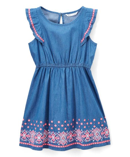 ee5cb53f0 p.s. from Aéropostale Blue Embroidered Chambray Flutter-Sleeve Dress ...