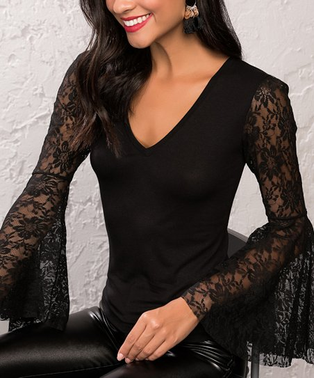 aa90ee4be0 Milan Kiss Black Lace-Accent Bell-Sleeve V-Neck Top - Women | Zulily