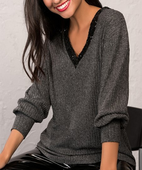 2ad2fa565e826 love this product Anthracite   Black Sequin-Accent V-Neck Top - Women