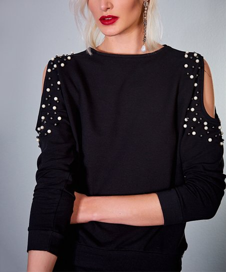 27d45663182 Milan Kiss Black Beaded Cold-Shoulder Top - Women | Zulily