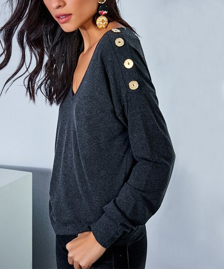 0ed3116fcaf2f love this product Anthracite Button V-Neck Top - Women