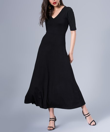 Milan Kiss Black V Neck Maxi Dress Women Zulily