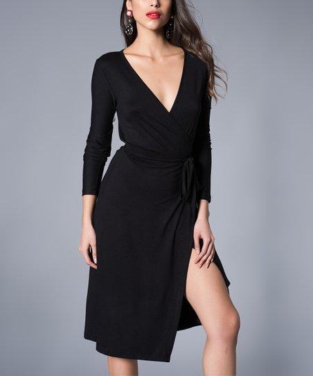 Milan Kiss Black Front Slit Wrap Dress Women Zulily