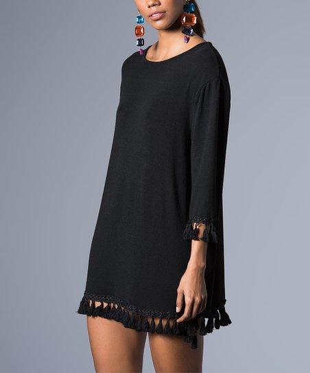 Milan Kiss Black Tassel Trim Shift Dress Women Zulily
