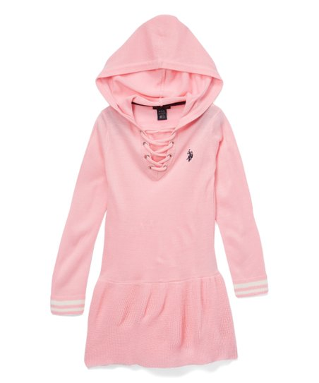 b1bda33d48 U.S. Polo Assn. Light Pink Hooded Lace-Up Sweater Dress - Toddler ...