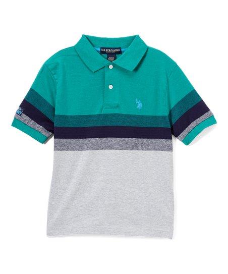 U S Polo Assn Peacock Heather Stripe Color Block Polo Shirt