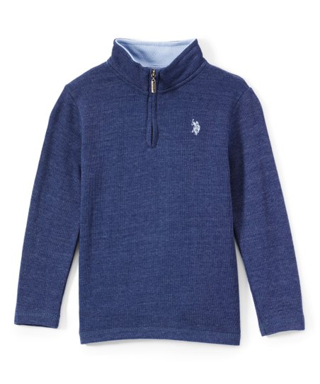 6f0731e3f U.S. Polo Assn. Indigo Blue Heather Flatback Half-Zip Sweater - Boys ...