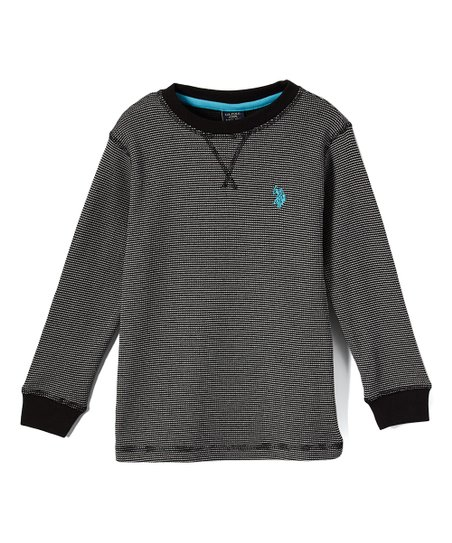 89adce3d U.S. Polo Assn. Black Two-Tone Thermal Long-Sleeve Top - Toddler ...