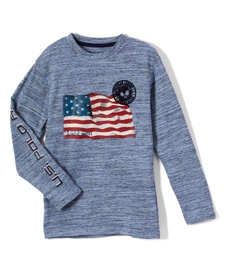 bd929091 U.S. Polo Assn. Blue Injection Flag Injected Long-Sleeve Tee ...