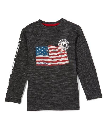 3d779ef6 U.S. Polo Assn. Dark Gray Flag Injected Long-Sleeve Tee - Toddler ...