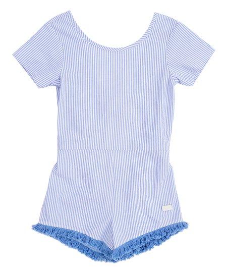 a4fdda90d77c 7 For All Mankind Bright Blue Stripe Ruffle Romper - Girls