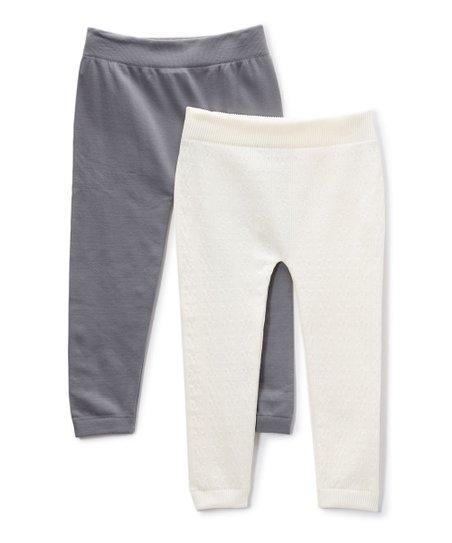 407864630b9ca love this product White & Gray Fleece-Lined Seamless Leggings Set - Girls