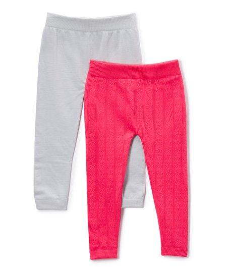 ebfddd3b94e3fe love this product Hot Pink & Light Gray Fleece-Lined Seamless Leggings Set  - Newborn, Toddler & Girls