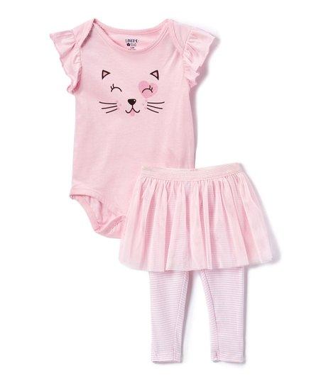 40714bdf094df Light Pink Kitten Face Bodysuit & Stripe Skirted Leggings Set - Infant