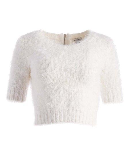 1014699ec54e31 Glamorous White Faux-Fur Back-Zip Crop Top   Zulily